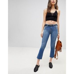 Free People Cropped Raw Hem Straight Jeans